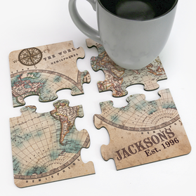The World Of Hemispheres Custom Family Coaster Puzzle
