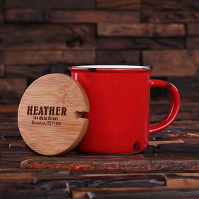 Personalized Ceramic Mug with Bamboo Lid