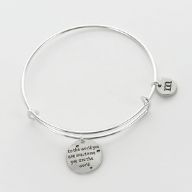 To The World You Are One Personalized Inspirational Bangle