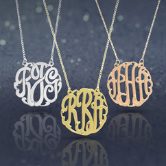 Traditional Silver Monogram Necklace/ split chain