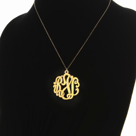 Traditional Solid Gold Monogram Necklace