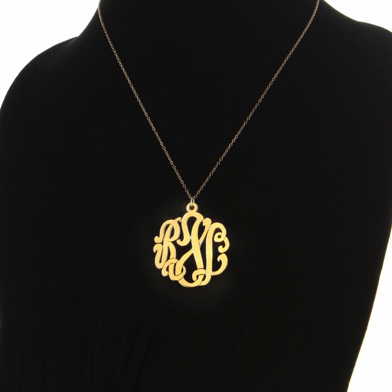 custom jewelry traditional solid gold monogram necklace