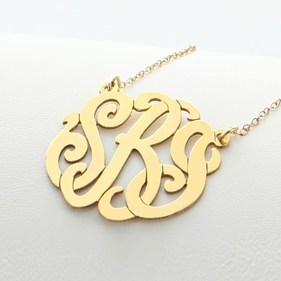 Traditional Solid Gold Monogram Necklace/ split chain