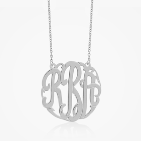 Traditional Sterling Silver Monogram Necklace