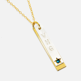 Two Tone Sterling Silver  Necklace Personalized with  Engraved Monogram and Swarovski Birthstone