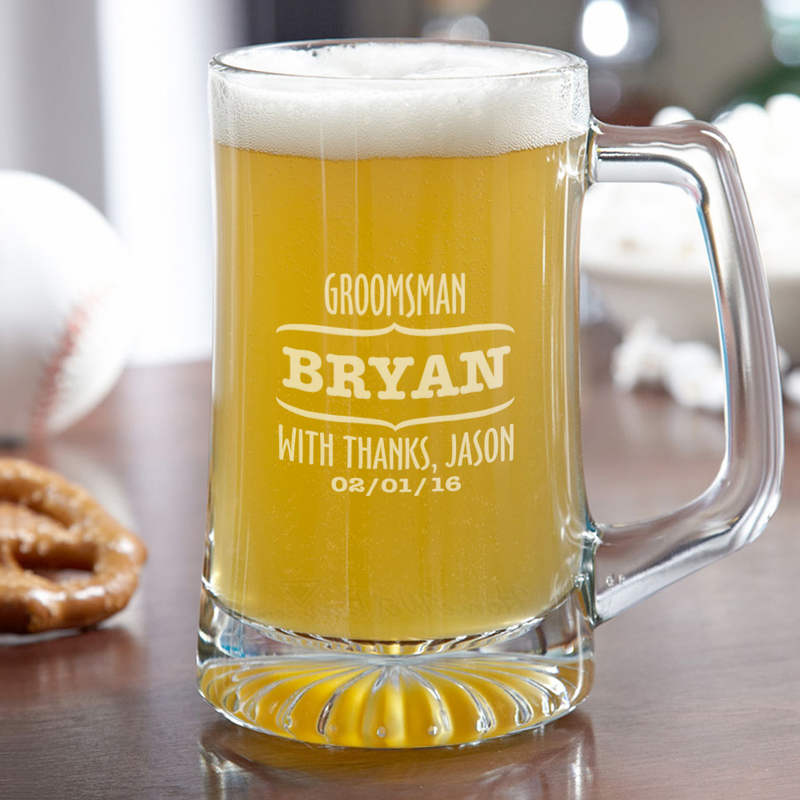 Wedding Gift Beer Mugs : Wedding Party Personalized Groomsman Beer Mug - Monogram Online