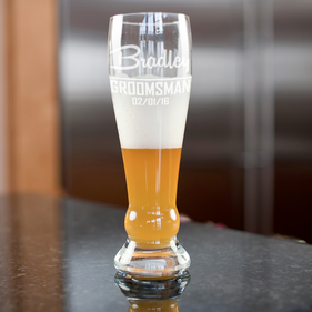 Wedding Party Personalized Groomsman Pilsner Glass