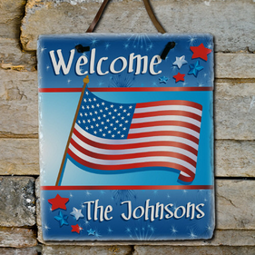 Welcome July 4th Personalized Slate Plaque