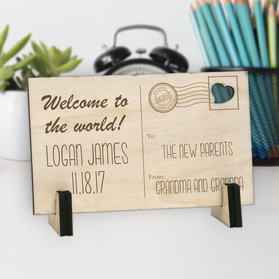 Welcome To The World Personalized Wood Postcard