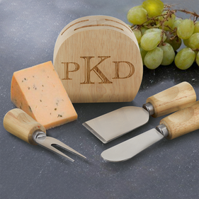 Mini Wood Cheese Block with Three Wood Handle Utensils