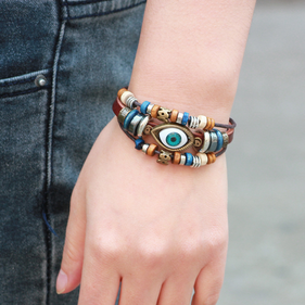 Woven Genuine Leather Fashion Bracelet with Beads