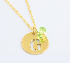 Small Circle Necklace Personalized With Initial And Slide In Swarovski Birthstone in Yellow or Rose Gold over Silver
