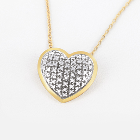 Yellow Gold over Silver Necklace with CZ Stones