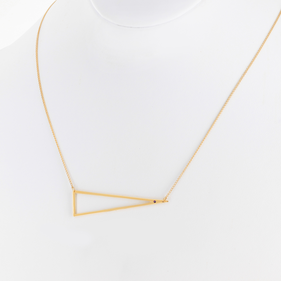 Yellow Gold or Rose Gold Triangle Shape Necklace with Birthstone