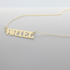 Yellow Gold over Silver Block Letter Name Necklace