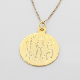 Yellow Gold over Silver Engraved Monogram Necklace