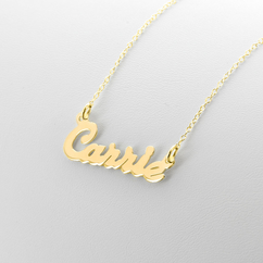 Yellow Gold over Silver Name Necklace
