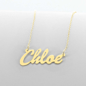 Yellow Gold over Silver Script Name Necklace