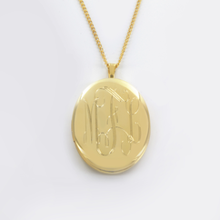 Yellow Gold over Sterling Silver Engraved Oval Monogram Locket Necklace