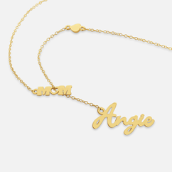 Yellow or Rose Gold over Sterling Silver Personalized Name Necklace attached with 'Mom' Pendant