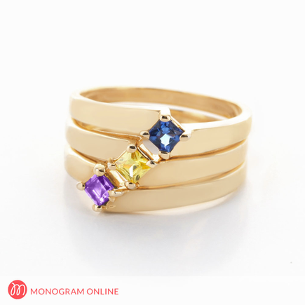 Yellow or Rose Gold over Sterling Silver Three Piece Stackable Birthstone Rings