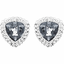 Swarovski  Begin Stud Pierced Earrings dark crystal