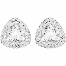 Swarovski Begin Stud Pierced Earrings clear crystal