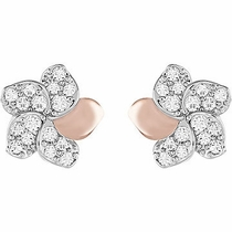 Swarovski Cute Flower Pierced Earrings