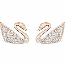 Swarovski Swan Mini Pierced Earrings rose gold