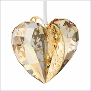 Swarovski Christmas Ornament Heart, Crystal Golden Shadow