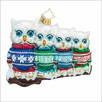 Christopher Radko Owl in a Row Christmas Ornament