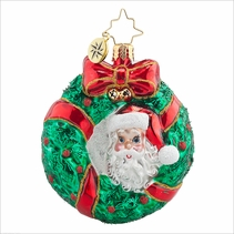 Christopher Radko Peek - A - Boo Santa Gem Christmas Ornament