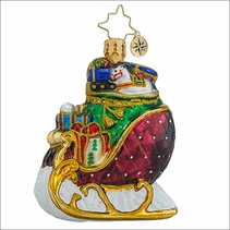 Christopher Radko Ruby Sleigh Ride Gem Christmas Ornament