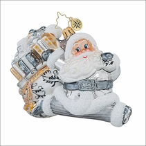 Christopher Radko Silver St. Nick Christmas Ornament