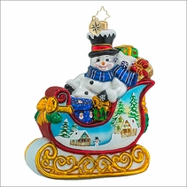 Christopher Radko Snowy Gift Sleigh Ride Christmas Ornament