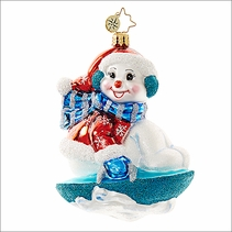 Christopher Radko Snowy Saucer Christmas Ornament