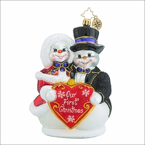 Christopher Radko Snowy Sweethearts Christmas Ornament