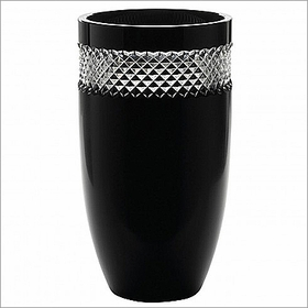 "John Rocha Black Cut 12"" Vase"
