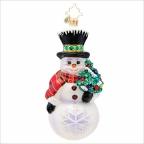 Flakey the snowman Radko Christmas Ornament