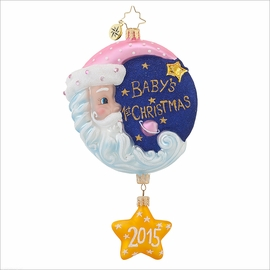 (SOLD OUT) Sleepytime Santa Pink  Radko Ornament