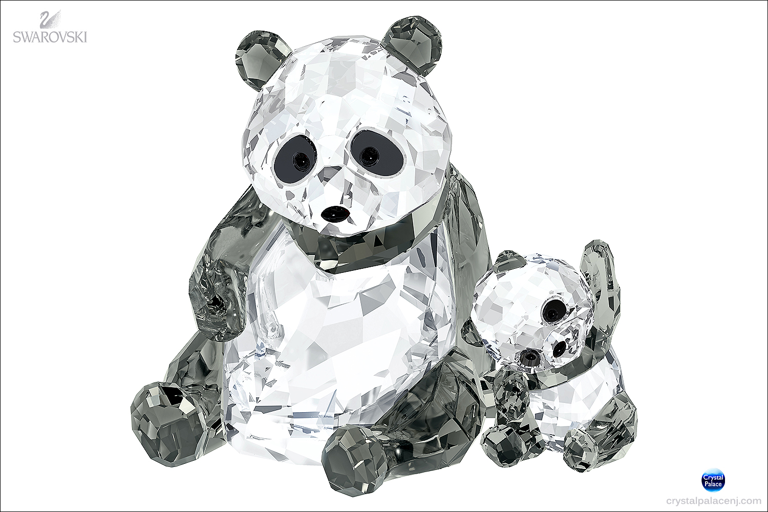 Swarovski Panda Mother With Baby
