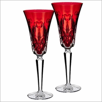 """Waterford I Love Lismore """"Red"""" Flute, Set of 2"""
