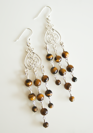 Tiger Eye Sterling Silver Swirl Chandelier Earrings