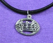 Music Notes-Oval Necklace