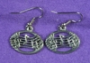 Oval Music Notes Earrings