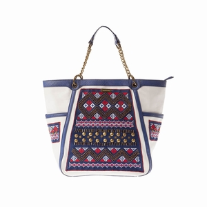 Blue and White Embroidered Bag