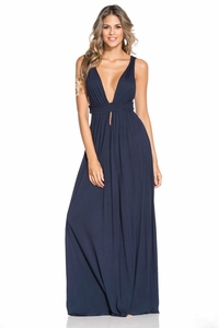 Deep V Neck Maxi Dress in Navy