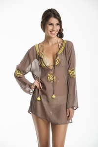 Hand Embroidered Wild Tunic in Taupe