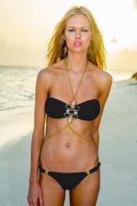 Jewel Bandeau Body Chain Black Top