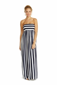 Pamela Pull on Dress in Navy Harbor Stripe